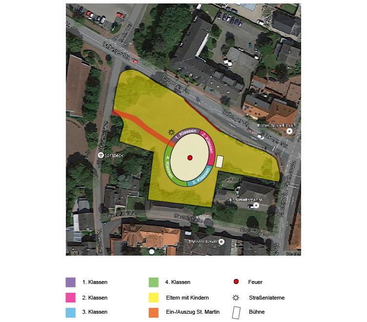 Plan zur Aufstellung des Sankt-Martinszuges 2016 in Sonsbeck