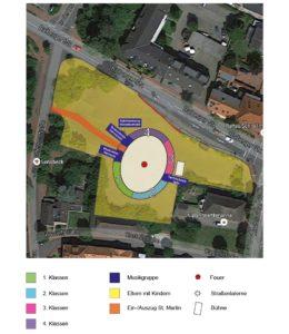 Plan zur Aufstellung des Sankt-Martinszuges 2017 in Sonsbeck